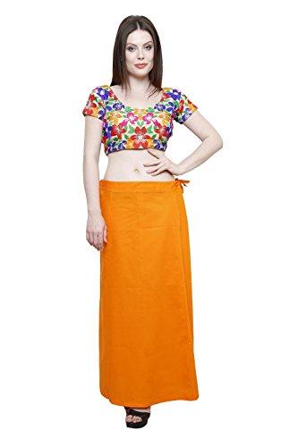 Pistaa Women's Cotton Orange Colour Best Indian Solid Inskirt Saree petticoats