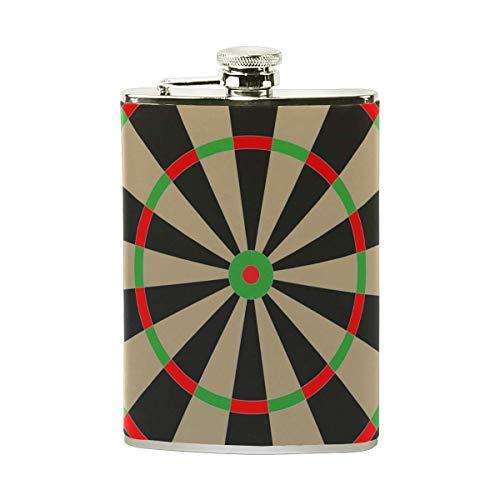 Dartscheibe Vecteezy Trinkflasche mit eingewickeltem PU-Leder, auslaufsicherer Edelstahl-Spirituosen-Flachmann, 8 oz