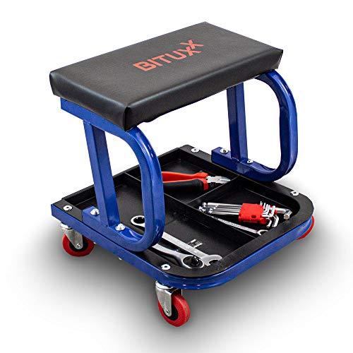 BITUXX® Werkstatthocker Werkstattsitz Arbeitshocker Rollhocker mit Rollen und Ablagen