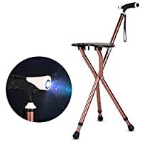 BAOFI Cane Stool, 3 Legs Cane Seats, Crutch Chair Seat, 3 Legs Cane Seats, Walking Stick Chair Combo, Folding Walking Cane, With LED Light Lightweight and Adjustable, Great for Travel,Brown