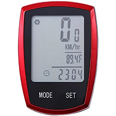 Tenswall Ordenador para Bicicleta Inalámbrico Resistente al Agua Cuentakilómetros Velocímetro con Función de Activación Automática y LCD Retroiluminada 22 Funciones -