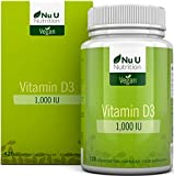 Vitamina D3 Vegan 1000 UI | 120 Capsule Softgel Vegan - Fornitura Per 4 Mesi | Integratore di Vitamina D Senza Allergeni e OGM | Prodotto in UK da Nu U Nutrition