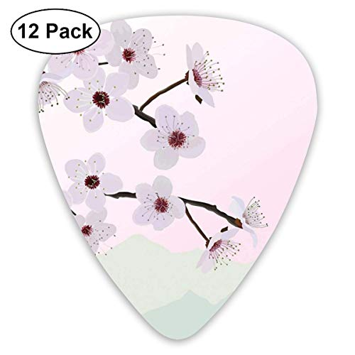 Celluloid Guitar Picks - 12 Pack,Abstract Art Colorful Designs,Almond Flower Motifs With Trees On Mountainside Background In Pink Shades,For Bass Electric & Acoustic Guitars.