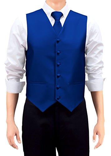 Retreez Gilet tissé de couleur unie pour homme avec cravate et nœud papillon Coffret cadeau Bleu