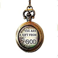 xinzhahi Christian Quotes Pocket Watch Necklace,Inspirational Sayings ,Everyday Gift