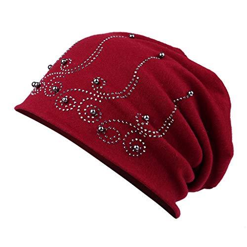 ütze Sommer Klassische Baumwolle elastisches Long Slouch Beanie mit Strass Steine Nieten Pailletten Metallic Perlen Rot ()