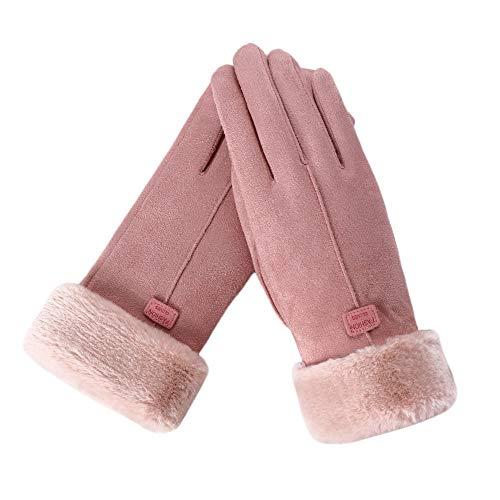 Zolimx Handschuhe Damen Winterhandschuhe Touchscreen Pelzspitze Handschuh Fahrradschuhe Geschenke Winter Warme Gloves