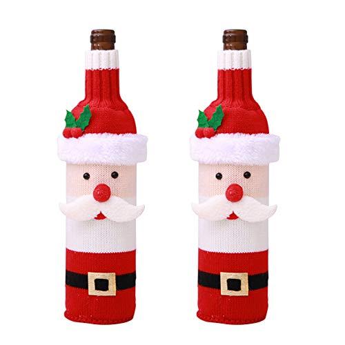 vLoveLife 2 x Weihnachtspullover, Weinflaschenbezug mit Weihnachtsmann und Schneemann-Design, Weinflaschen-Pullover, Weihnachtsgeschenke, Party-Dekorationen 28cm x 12cm 2 Santa