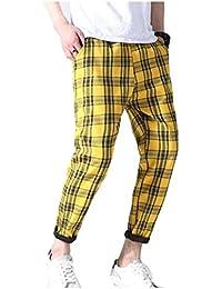 Gocgt Men's Stylish Plaid Loose Fit Elastic Waist Leisure Pant