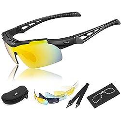 HiHiLL Gafas Ciclismo Hombre, Gafas de Sol Deportivas Polarizadas con 5 Lentes Intercambiables UV400 Protección Antivaho Antireflejo Anti Viento para Hombre y Mujer - Negro Mate