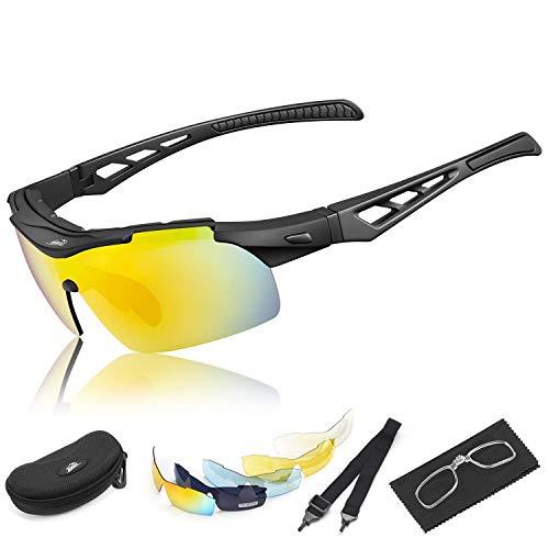 fe043ac3d3 HiHiLL Gafas Ciclismo Hombre, Gafas de Sol Deportivas Polarizadas con 5  Lentes Intercambiables UV400 Protección