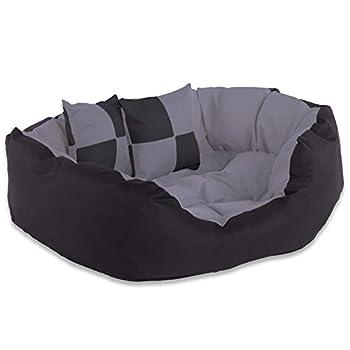 dibea Lit/Coussin/Canapé Lavable avec Coussin Réversible pour Chien Gris/Noir 65 x 50 x 20 cm