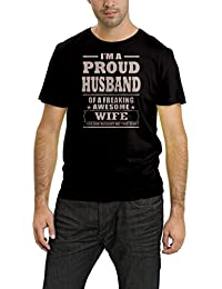 PepperClub Men's Cotton Round Neck Half Sleeve Tshirt -Proud Husband Of Awsome Wife
