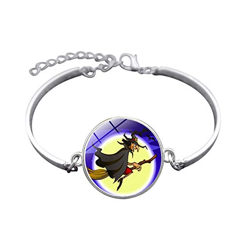 te Halloween Hexe Zeit Gem Armband Silber-Legierung Armband Armband Damen Herren Fest ()