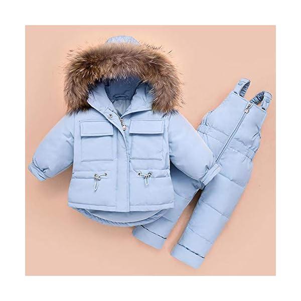 ZYY Snowsuits Niños Bebé Niño Invierno Traje De Nieve Chaqueta Acolchada Abrigo con Capucha Abajo Pantalones para La… 3