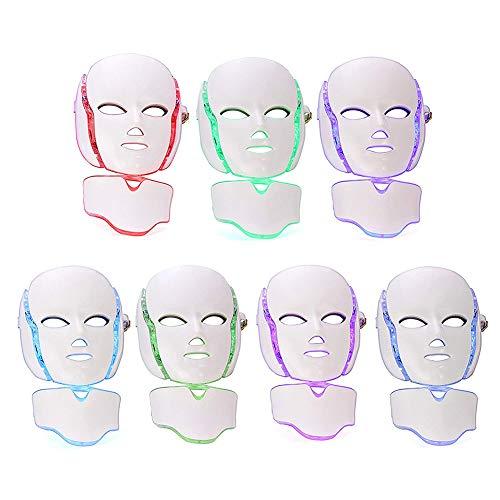 7 Farben LED Licht Photon Gesichts Hals Maske Hautverjüngung Gesichtspflege Behandlung zum Antialterung, Anziehen, Narben, Bleaching