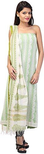 Palkin Women's Jute Unstitched Salwar Suit - (K56, White and Mint)