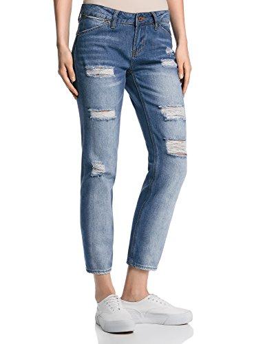 Oodji ultra donna jeans boyfriend strappati, blu, 28w / 30l (it 44 / eu 40 / m)