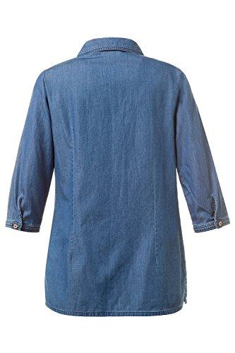 GINA_LAURA Damen | Jeans-Bluse | 3/4-Arm | Größe S-XXXL | Knopfleiste, Brusttasche | 100 % Baumwolle | 709830 Blue