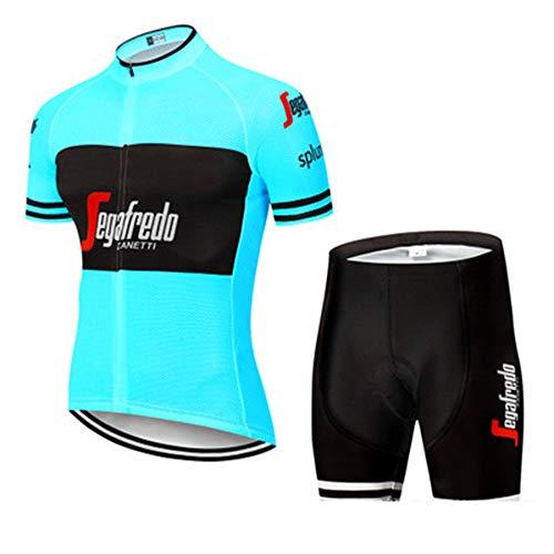 YDJGY Radtrikot Kurzarm Set,Schnelltrocknendes Atmungsaktives Mountainbike-Kleidungsset FüR Herren Im Sommer