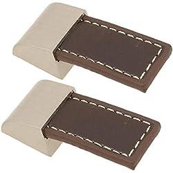FBSHOP(TM) 2pcs muebles Tiradores para muebles Cajón del gabinete Manija de la puerta Tiradores del armario Perillas del armario Maletín Maleta de aleación de zinc y manija de cuero