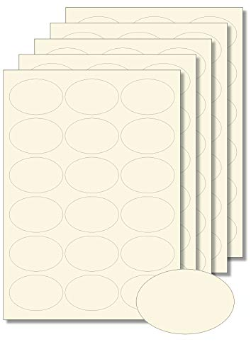 90 Etiketten oval Creme zum Bedrucken, Beschriften, DIN A4, selbstklebend, leicht ablösbar, Marmeladenetiketten Haushaltsetiketten Gewürzetiketten