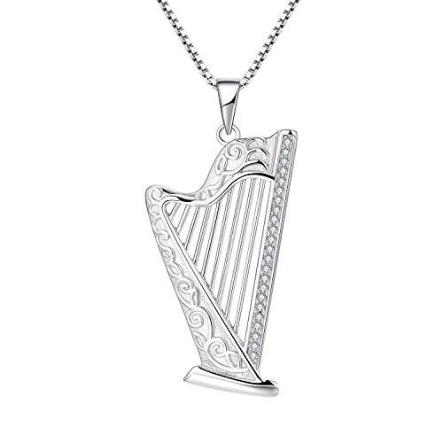 FJ Damen Harfe Halskette Keltischer Knoten mit AAA CZ S925 Silber