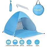Kratax Tenda da Spiaggia Pop UP Parasole Spiaggia Protezione UV per 2-3 Persone Apertura Istantanea Leggero da Portare per Spiaggia Palco Giardino