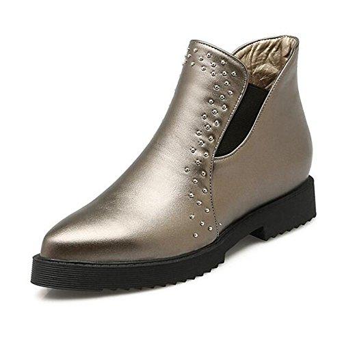HSXZ Scarpe donna vera pelle caduta molla Comfort Bootie scarpe tacco blocco Babbucce/stivaletti di abbigliamento casual Rosso nero argento Black