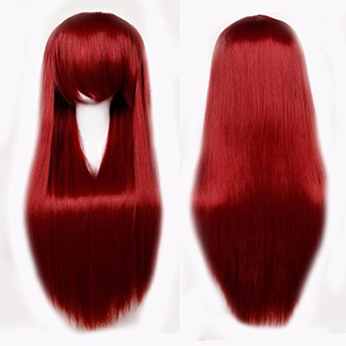 S-noilite 2460CM Wig Long Straight Hair Women Cosplay Party Costume Anime Full Wig Wine Red by S-noilite - Je Womens Cap