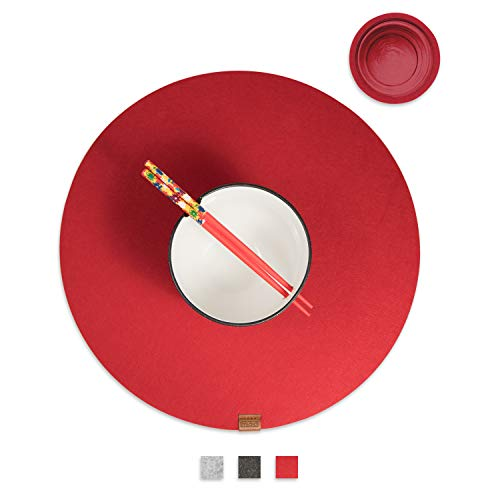Miqio® - Filz und Leder - Design Platzsets (Rund) - Set mit 4 waschbaren Premium Tischsets 37 cm und 4 Getränkeuntersetzern (rot)