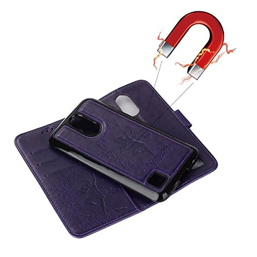 Abnehmbare 2 in 1 Crazy Horse Texture PU Ledertasche, Fairy Girl Embossed Pattern Flip Stand Case Tasche mit Lanyard & Card Cash Slots für LG K10 2017 ( Color : Red ) Purple