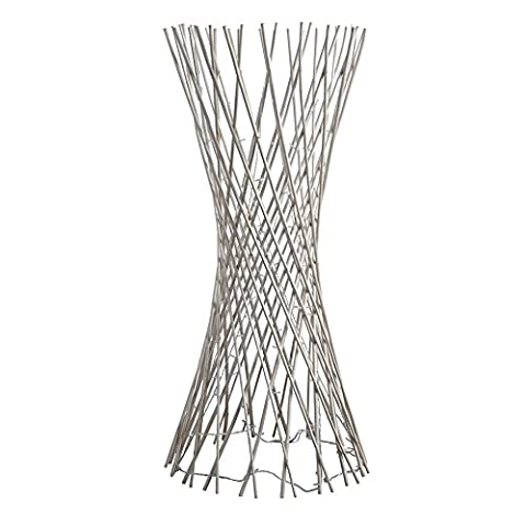 Tall Natural Rattan Lattice Wicker Twig Decorative Floor Lamp Light - With 80 Warm White Fairy Lights
