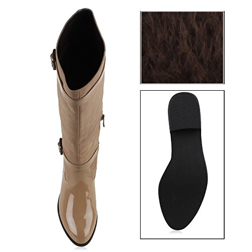 Damen Schuhe Klassische Stiefel Boots Lack Nude
