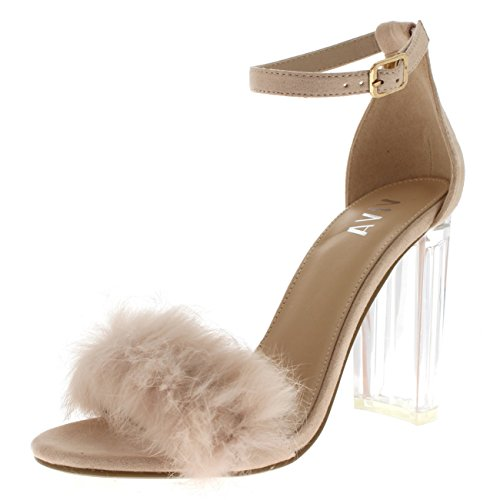Viva Damen Flauschige Glass Blockabsatz Party Ausgeschnitten Mode Hoher Absatz Pumps - Nude KL0280G 8UK/41