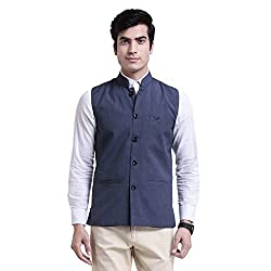 Vandnam Mens Poly Cotton Blue Color Nehru Jacket (bluechecks)