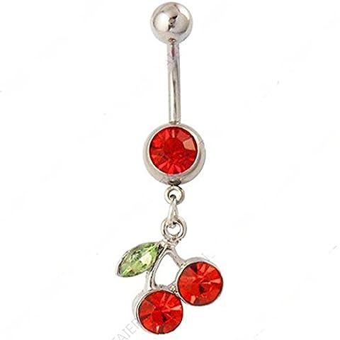 RichBest frutta cherries-Anello ombelicale per piercing alla moda, in acciaio chirurgico, 14 g, Gems