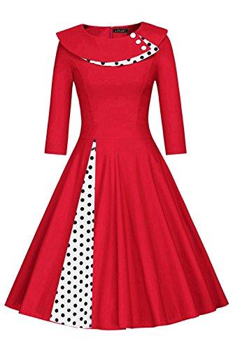 Damen 50er Jahre Audrey Hepburn kleid Rockabilly Cocktailkleid Petticoat Polka Dots Knielang Rot M