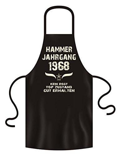 Soreso Design Geschenk Zum 50 Geburtstag :-: Grillschürze Kochschürze Hammer Jahrgang 1968 Geburtstagsgeschenk für 50 Jährige Männer Farbe: Schwarz Gr: M
