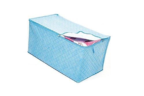 Zusammenklappbar Bettwäsche Lagerung (Faltbare Aufbewahrungsbox Stoffkiste Aufbewahrungstasche Ablagebox Schlafzimmer Accessoire-Organizer Aufbewahrungskasten Aufbewahrungs box Deckel Kleider Schrank Steppdecke mit Reißverschluß (blau))