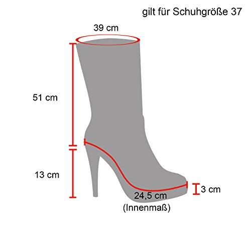 Stiefelparadies Damen Plateau Overknees Stiefel Stiletto High Heels Langschaftstiefel Wildleder-Optik Plateau Schuhe 123942 Schwarz Braun 40 Flandell