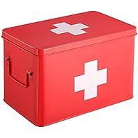 Caja Botiquín | Kit De Primeros Auxilios Metálico Rojo | 5 Compartimentos De Almacenamiento De Doble Capa | 31.5 x 19 x 20 cm | HARIMA