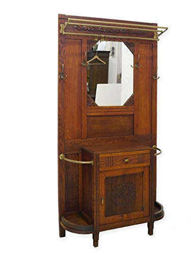 Garderobe Wandgarderobe Flurgarderobe Antik um 1920 aus Eiche massiv (8678)