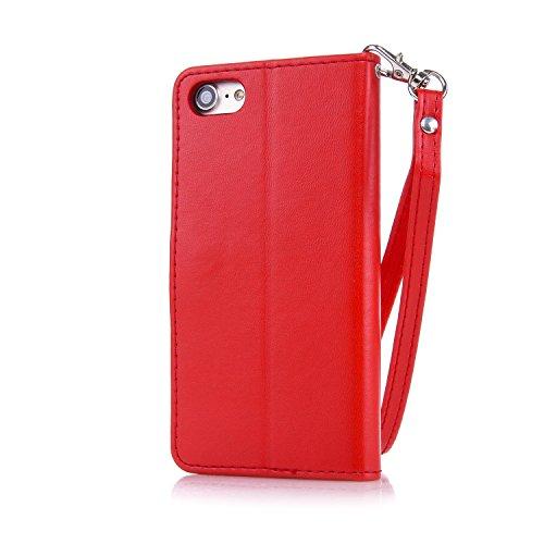 iPhone 7 Lederhülle,iPhone 7 Schutztasche, Aeeque® [Schön Engels Mädchen Motiv] 3D Modisch Design Ständer Unsichtbar Magnet und Weich Silikon Innere Bumper Praktische Handschlaufe Wallet Case Cover Hü Schmetterling Rot