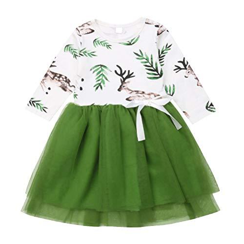 BESTOYARD Mädchen Weihnachten Druck Elch Kleid Schöne Cartoon Tüll Tutu Sommerkleid Baumwolle Floral Gesticktes Partykleid für Kinder Kinder größe