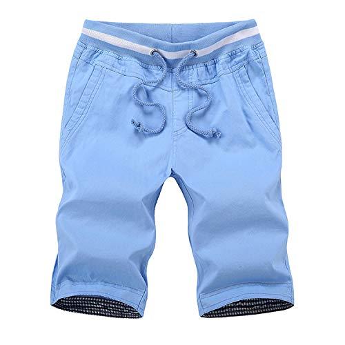 Leichte Slim Fit Baumwoll Leinen Shorts für Herren mit Gürtel Mint Summer,Baumwoll Freizeitshorts Strand 5 XL