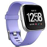 HUMENN Für Fitbit Versa Armband, Classic Weiches TPU Sports Ersetzerband Verstellbares Zubehör Uhrenarmband für Fitbit Versa Smartwatch Klein Lavendel