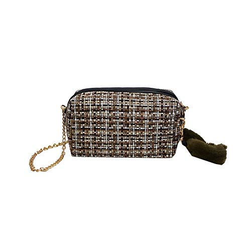 wangkk Woven Kette Bag Bag Weibliche Kleine Plaid Outdoor Wilde Schulter Messenger Bag Handytasche Geldbörse, 3 -