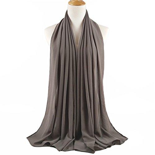 ❤️ SAFIYA - Hijab Kopftuch für muslimische Frauen I Islamische Kopfbedeckung 75 x 180 cm I Damen Gesichtsschleier, Schal, Pashmina, Turban I Musselin / Chiffon - Dunkelgrau - 4