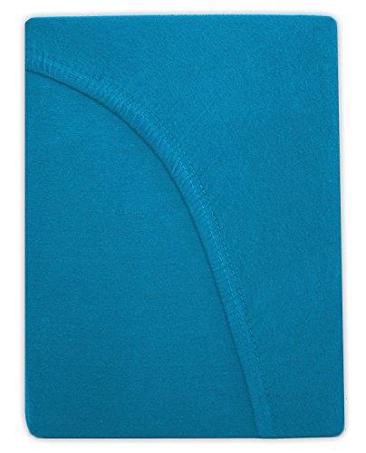 Farbenfrohes Jersey Spannbettlaken Spannbetttuch Bettlaken aus hautsympathischer 100% Baumwolle (120 x 200 cm, Türkis / Ocean) - 2